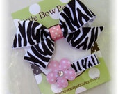 Tutu Chic Small Zebra Flower Baby Hairbow & Hair Clip Set of 2 Boutique No Slip Hair bow Clips Flower Sparkle Cip