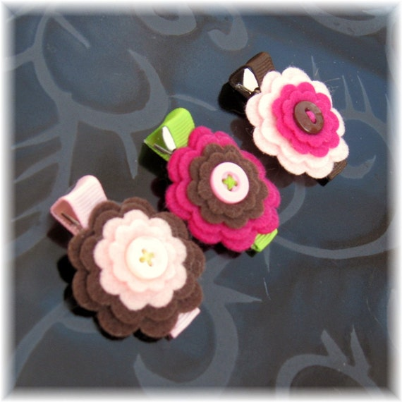 Tutu Chic Pink Chocolate Layered Felt Flower Hair Clip Trio Set of 3 Pink Fuchsia & Brown Non Slip Hair Clips with Button
