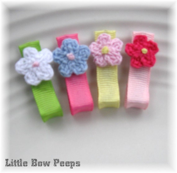 Tutu Chic Perfectly Petite and Sweet No Slip Clip Set of 4 - Crochet Flower Set The Perfect Newborn Infant Clips