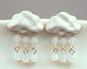 Silver Rain Snow Clouds Earrings with Sterling Silver Posts and White Opal Swarovski Crystals Snow Flakes - Snowfall