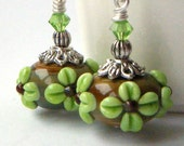 Lampwork Earrings - Green Brown, Long Dangle, Lampwork Glass Beads, Floral, Swarovski Crystal - 'Woodland'