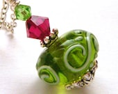 Free Shipping Etsy, Cyber Monday Etsy - Green Lampwork Pendant Pink Red Swarovski Crystals Autumn Jewelry OOAK - Apple Candy
