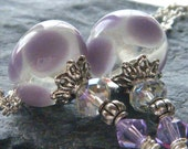 Lilac Lampwork Earrings Purple Violet Swarovski Crystals OOAK - Orchid Petals
