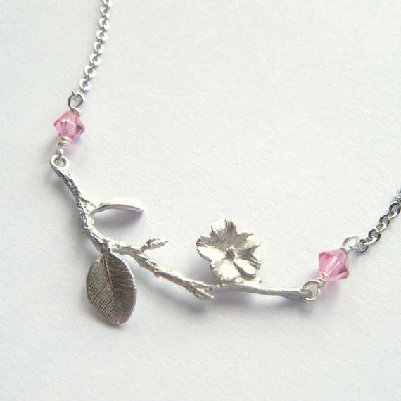 Silver Branch Necklace - Delicate Dainty Jewelry, Pastel Fashion, Wedding Jewelry, Pink Rose Swarovski Crystals, Flowers - 'Cherry Blossom'