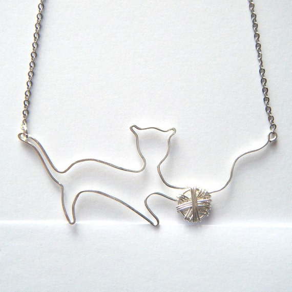 Cat Necklace - Pet Lover Jewelry, Silver Cat Pendant, Kitten Necklace with Ball of Yarn, Handcrafted Wire Work Pendant - 'Playful Kitten'