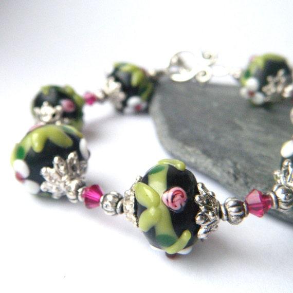 Lampwork Beaded Bracelet - Black, White, Pink, Floral, Swarovski Crystals, Multicolored - 'Summer Night'