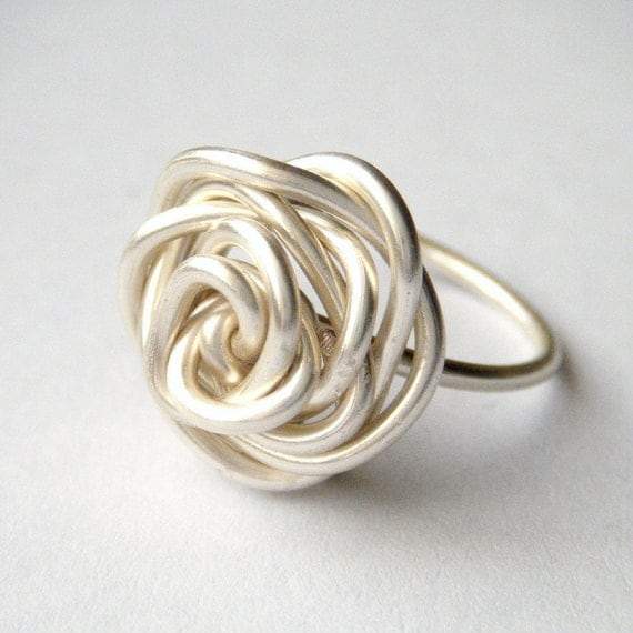 Silver Rose Ring - Wire Wrap Ring, Wire Wrapped Rose Ring, Wire Work, Size US 6/7, UK size M, Non-Tarnish, OOAK - 'Silver Rose'
