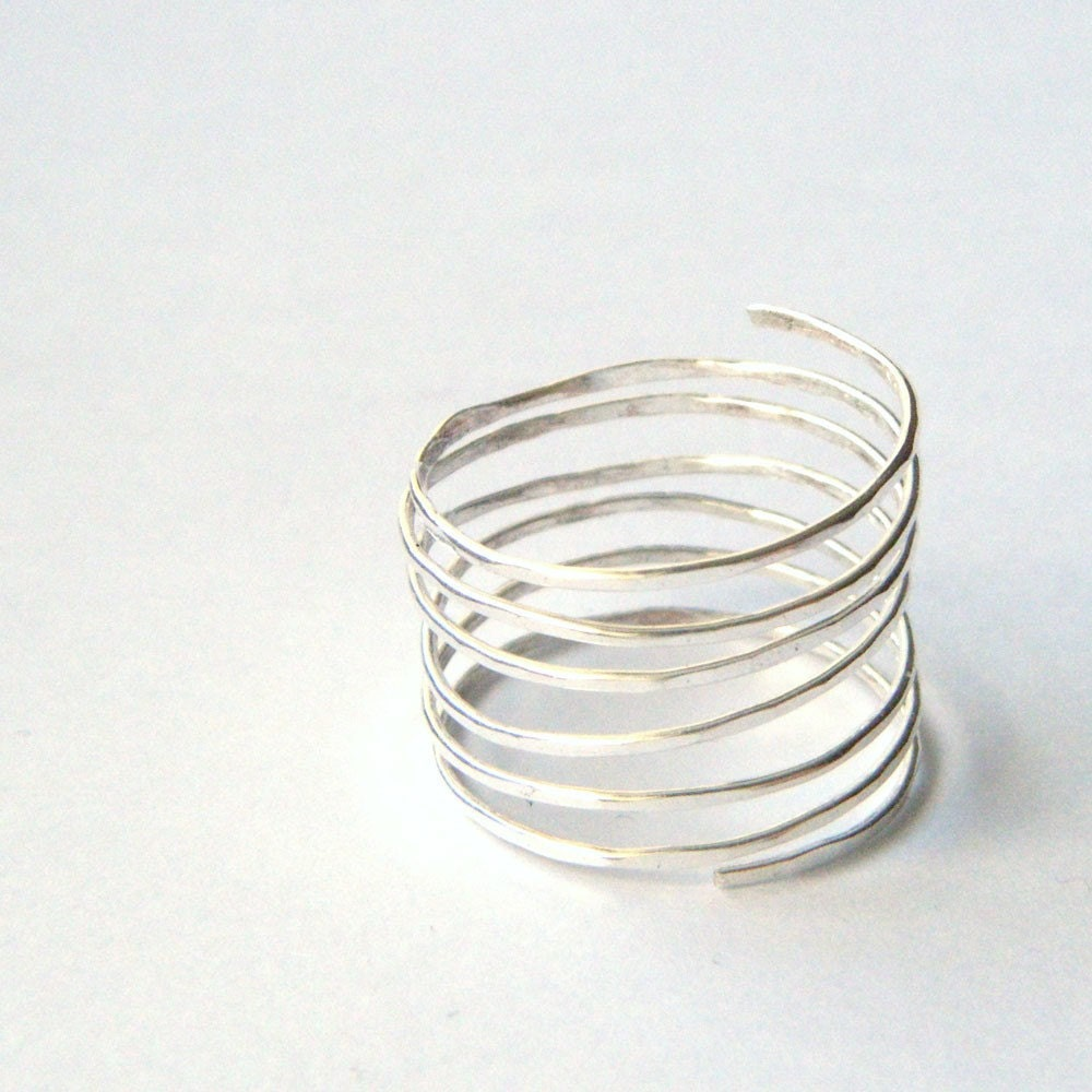 Silver Wire Spiral Ring Thumb Ring Infinity By Fiorejewellery