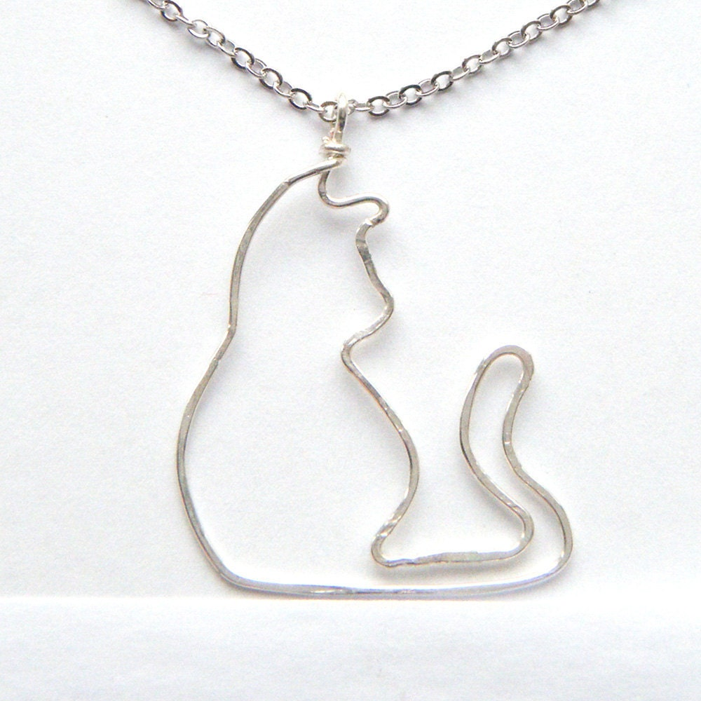 Silver Cat Necklace Wire Cat Silver Cat Pendant Silhouette