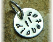 Personalized TINY Sterling Silver, Date, Contact Phone Number , Blood Type Disc Tag - Handmade for your Medic Alert Jewelry