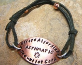 Adjustable Suede and Copper Medical ID Alert Bracelet -Sterling Silver Accents- Personalized Stamped -Suede Cord Your Color Choice- Handmade