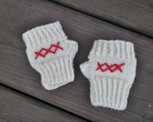 Swiss chalet handknit handwarmers for babies and toddlers