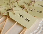 Eat Me Party Picks - pastel green with twine bows - set of 10