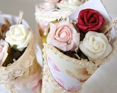 RESERVED for Davina Schumann - 3 x Vintage Style Paper Cone Rose Favors - Custom Order