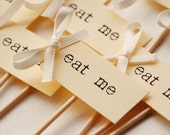 Eat Me Party Picks - cream with ivory bows - set of 10