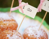 I Do Party Picks  - ivory with pastel pink bows - set of 10