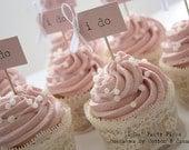 RESERVED for rachaelschreder - 4 x  I Do Cupcake Sticks - blush pink and ivory - Custom Order