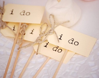 I Do Party Picks - cream with twine bows - set of 10