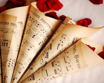 Vintage Music Sheet Confetti Cones - set of 8