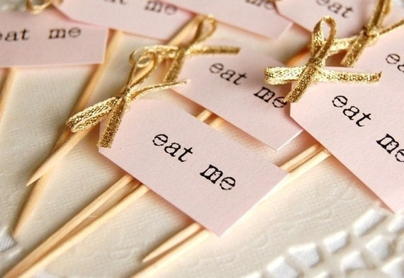 Eat Me Party Picks - blush pink with gold bows - set of 10