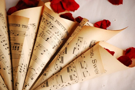 Vintage music sheet confetti cones set of 8 like this item junglespirit Images