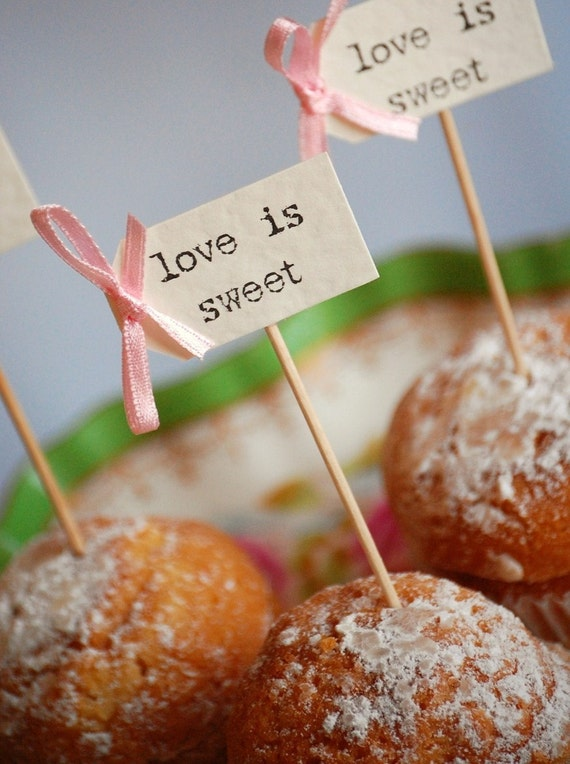 love is sweet Party Picks - ivory with pastel pink bows - set of 10