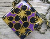 CLEARANCE Recycled Wood Necklace - Black and Gold Japanese Flower Print
