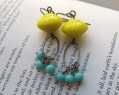 yellow and turquoise vintage earrings