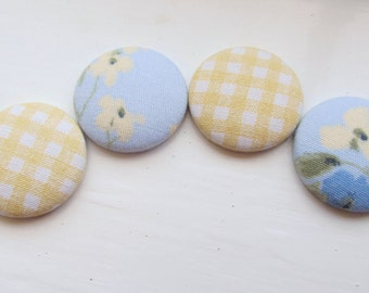 Yellow and Blue vintage fabric covered button magnets