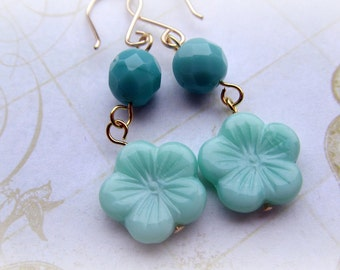 Turquoise and Aqua flower earrings