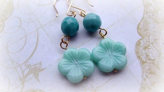 Turquoise and Aqua flower earrings