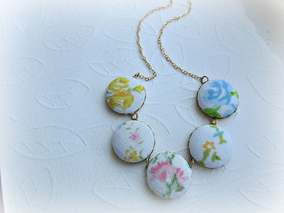 Vintage Fabric covered button gold filled necklace