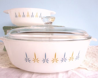Fire King Casserole - Mid Century Pattern Atomic Candleglow Fire King Baking Dishes - Set of 2