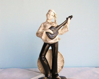 Asian Figurine -  Mandolin Player -  Made in Japan