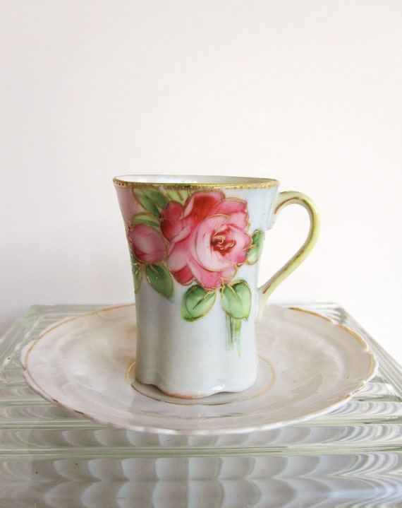 Vintage Nippon Teacup - Handpainted with Pink Roses Teacup and Saucer