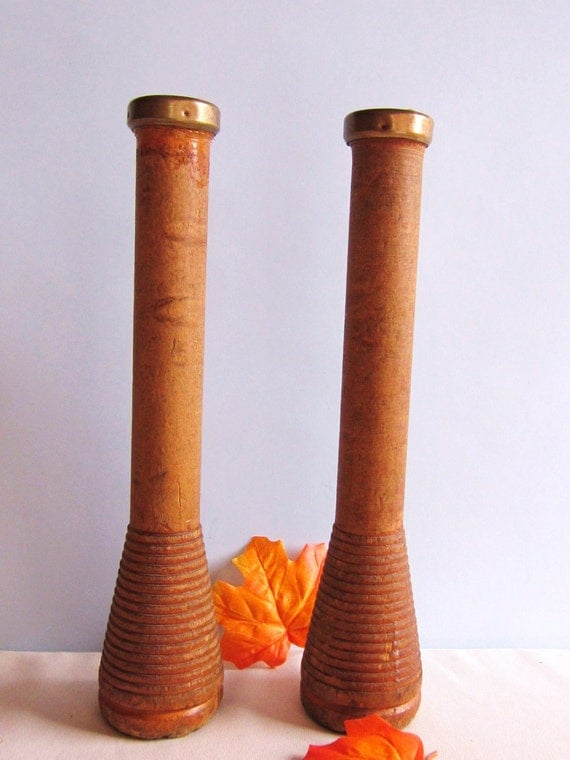 Vintage Wooden Spool Candle Holders