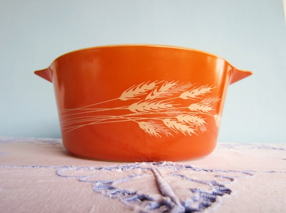 Orange Pyrex Casserole - Harvest Wheat  Pyrex Dish