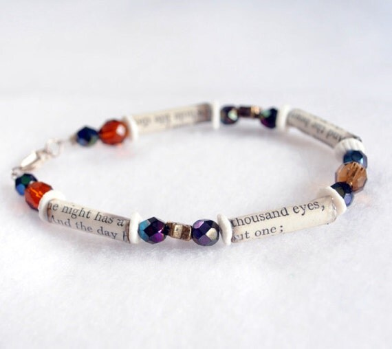 Poetry bracelet vintage recycled 'Thousand Eyes' literary jewellery