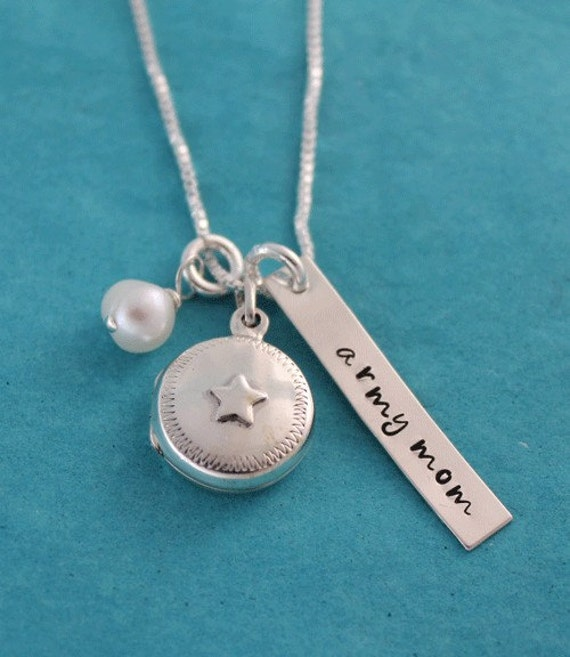 Reserved listing for Robin, Army Mom Star Locket Hand Stamped Necklace