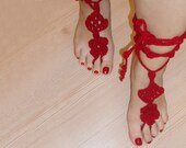 Red Fashion Holiday Accessories,Red barefoot beach pool Dance sexy,tango, vals knittting crochet sustainable fashion