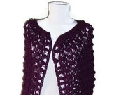 claret red  Crochet Triangle Shawl sustainable fashion