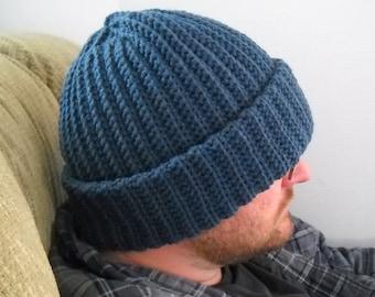 Mens Winter Hat Denim Blue Cap Beanie Size XL Hand Crochet Extra Warm Outdoors Cold Weather