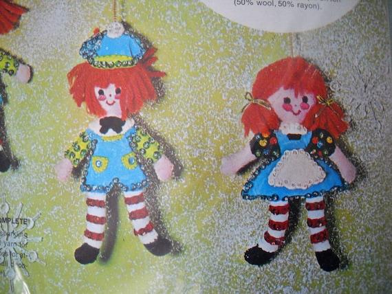 Vintage Bucilla Christmas Needlecraft Felt Kit Jeweled Ornamnets Mini Rag Dolls 2 Girls 2 Boys