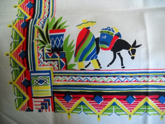 Vintage Cotton Pennicraft Tablecloth Cloth Table Cover Southwest Mexican Print Brightly Colored Fiesta Never Used