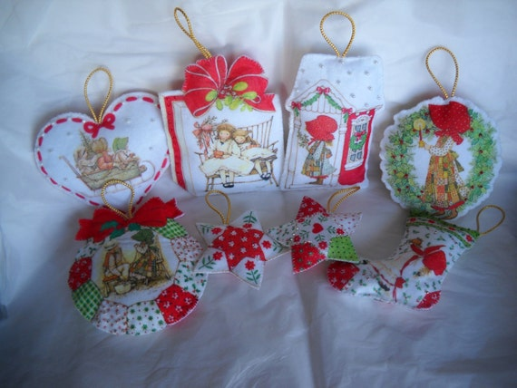Vintage New Christmas Ornaments Felt Holly Hobbie Made From Paragon Kit Set of 8 Completed FREE SHIPPING