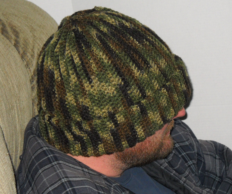Mens hunters camouflage camo hat cap beanie size xl crochet zoom bankloansurffo Images