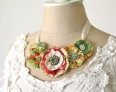 Colorful Garden Party Fabric Flower Statement Necklace