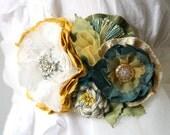 Floral Bridal Sash Dress Pin in Teal, Yellow, White, Vintage Rhinestone