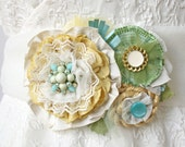 Floral Corsage Dress Pin in Yellow, Turquoise Blue and Green