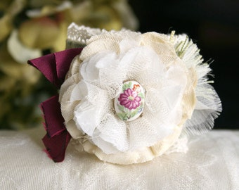 Prom Flower Corsage, Cuff Bracelet with Fabric Flower, Floral Bracelet, Textile Bracelet, Wedding Corsage, Bridesmaid Jewelry